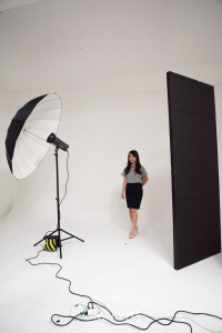 DM3-400 1灯 150cm白アンブレラ+レフ【セッティング】